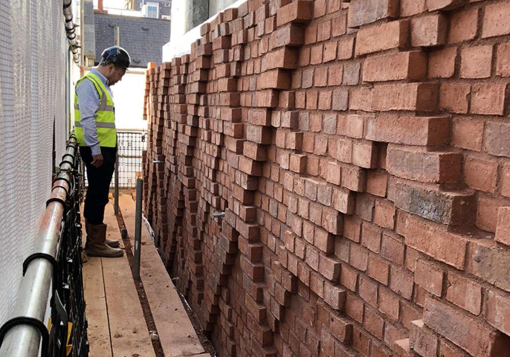 Decorative distinctive diamond pattern brickwork, mayfair, london